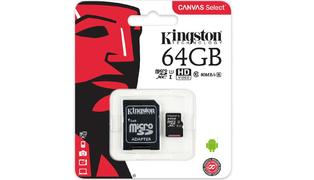 CARTAO DE MEMORIA MICRO SD 64GB CANVAS SELECT 80R UHS-I CLASSE 10 C/ ADAPTADOR - KINGSTON